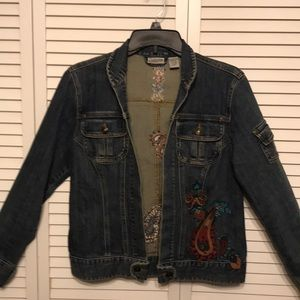 Chico's  Denim Jacket with Paisley Pattern on Back